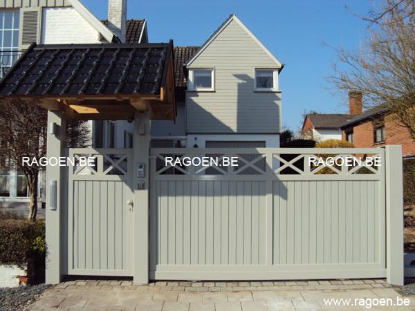 Portail et portillon en acier et bois